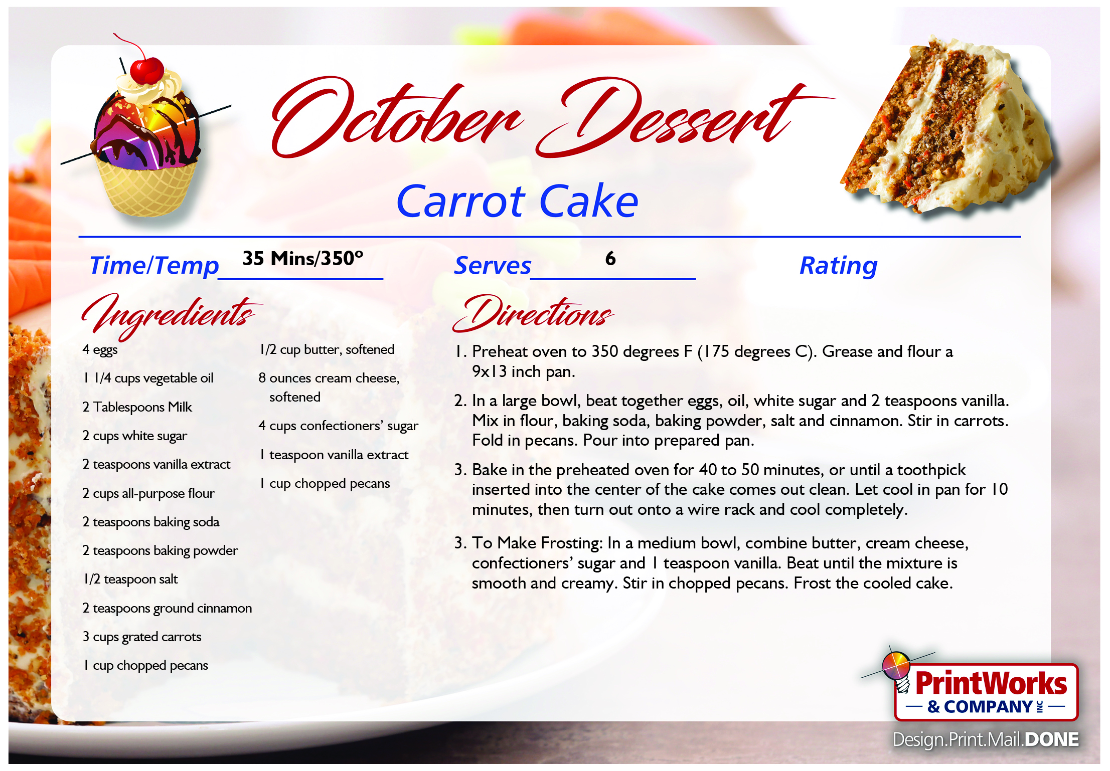 Carrot Cake October S Recipe Of The Month PrintWorks