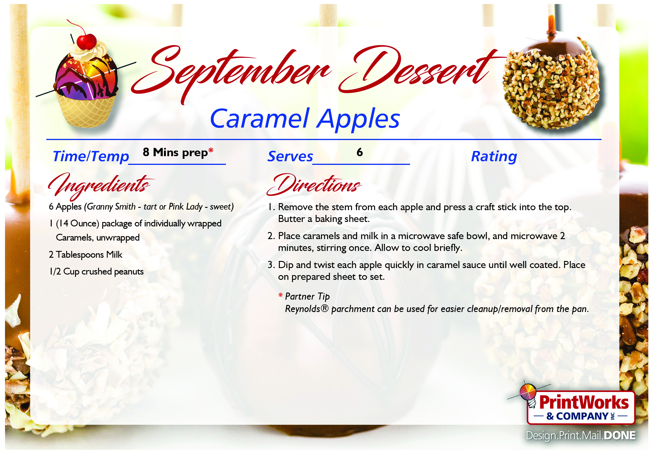 Caramel Apples September S Recipe Of The Month Printworks Company Inc